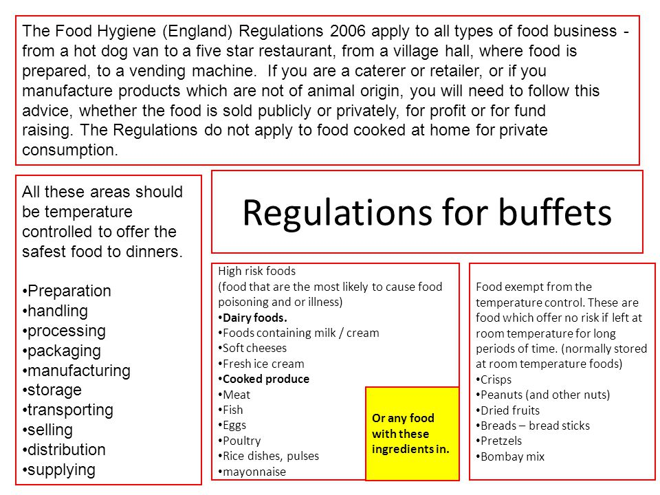 regulations for buffets