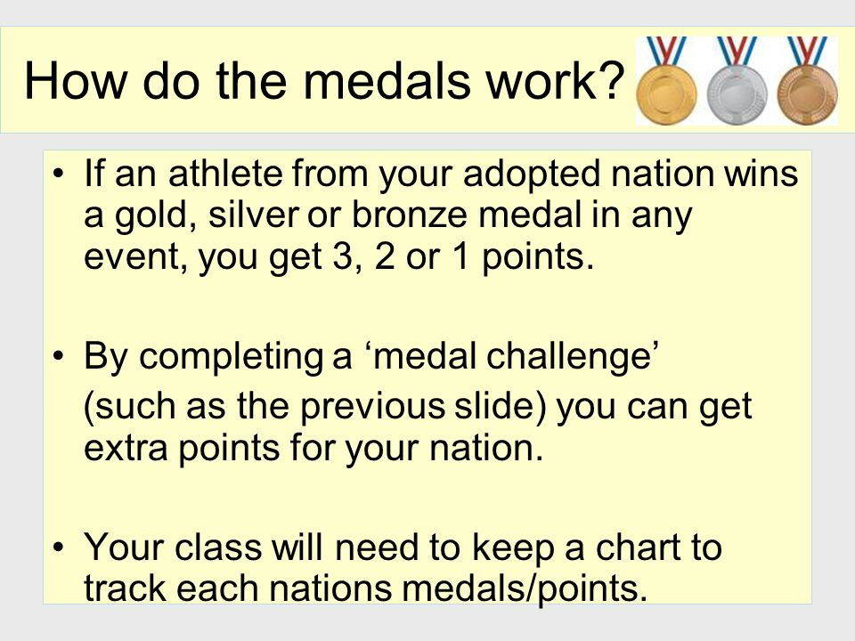 How do the medals work If an athlete from your adopted nation wins a gold, silver or bronze medal in any event, you get 3, 2 or 1 points.