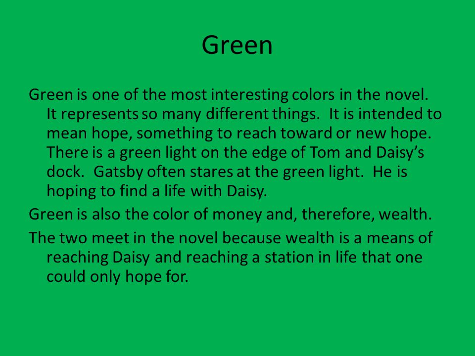 what does the green light mean to gatsby