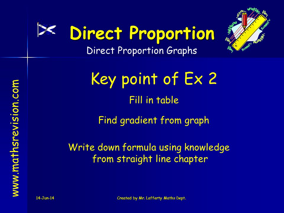Direct Proportion Key point of Ex 2