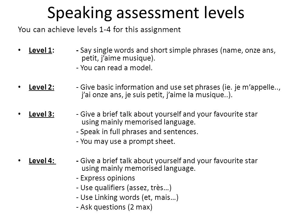 Speaking assessment levels