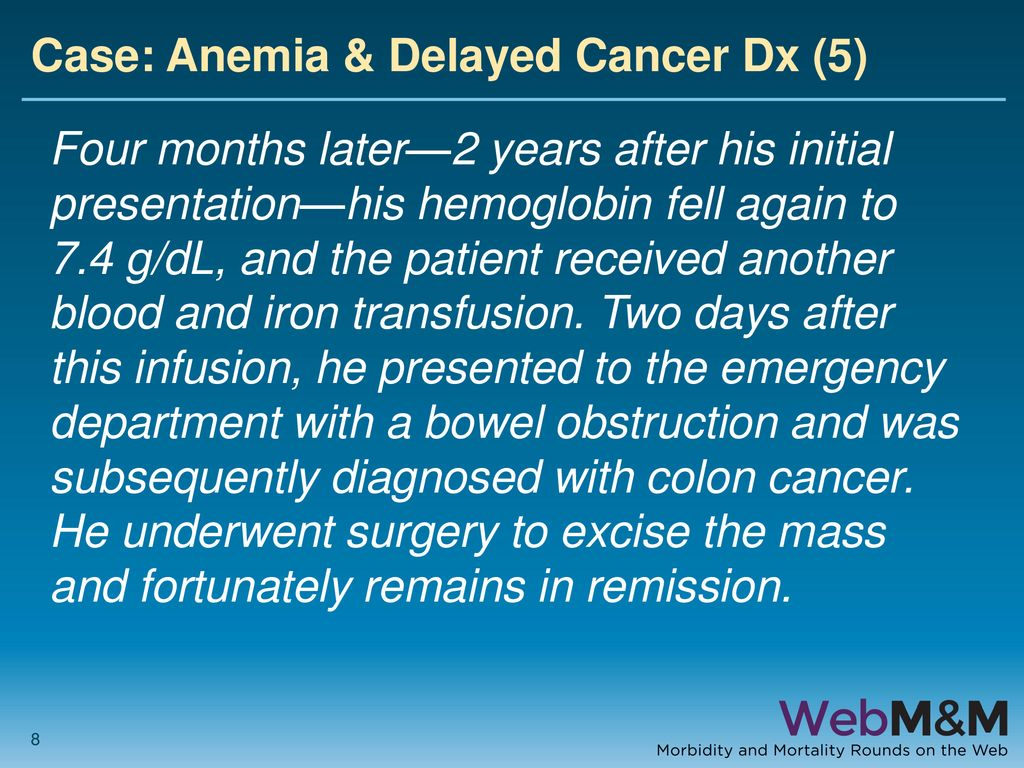 Anemia And Delayed Colon Cancer Diagnosis Ppt Download