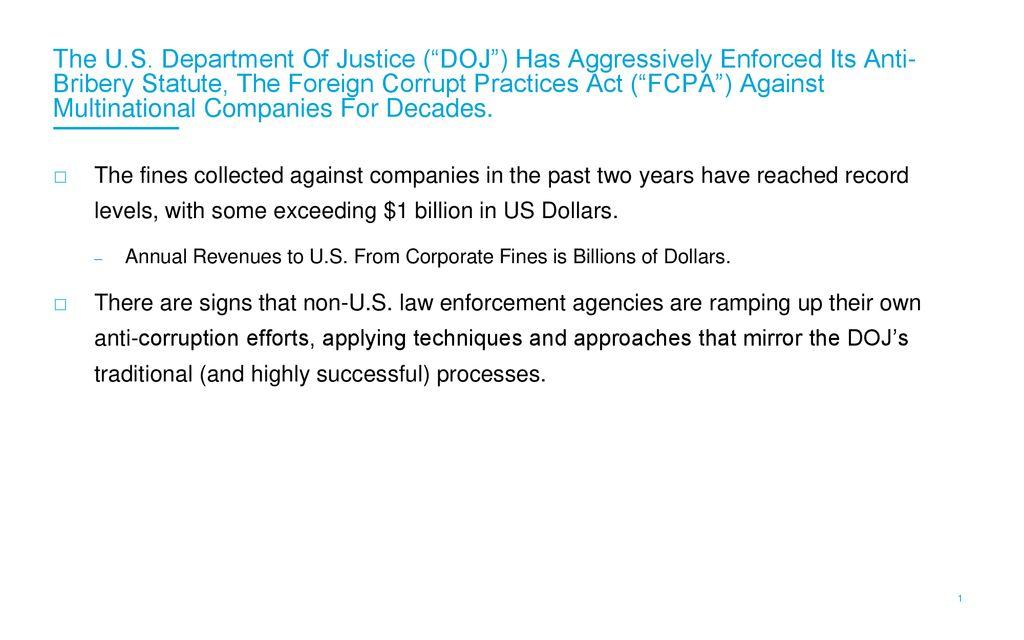 Global Anti Corruption Enforcement American Style Ppt