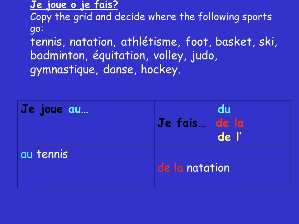Je joue o je fais Copy the grid and decide where the following sports go: