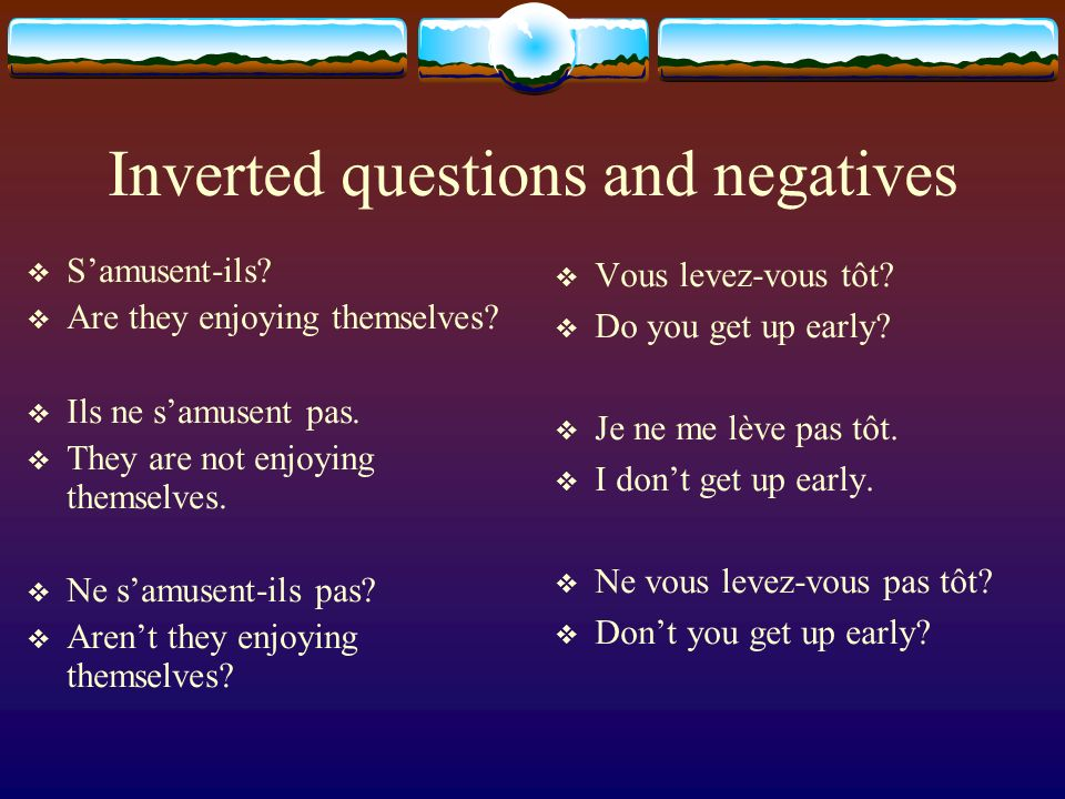 Inverted questions and negatives