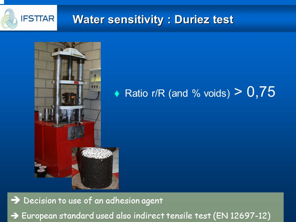 Water sensitivity : Duriez test