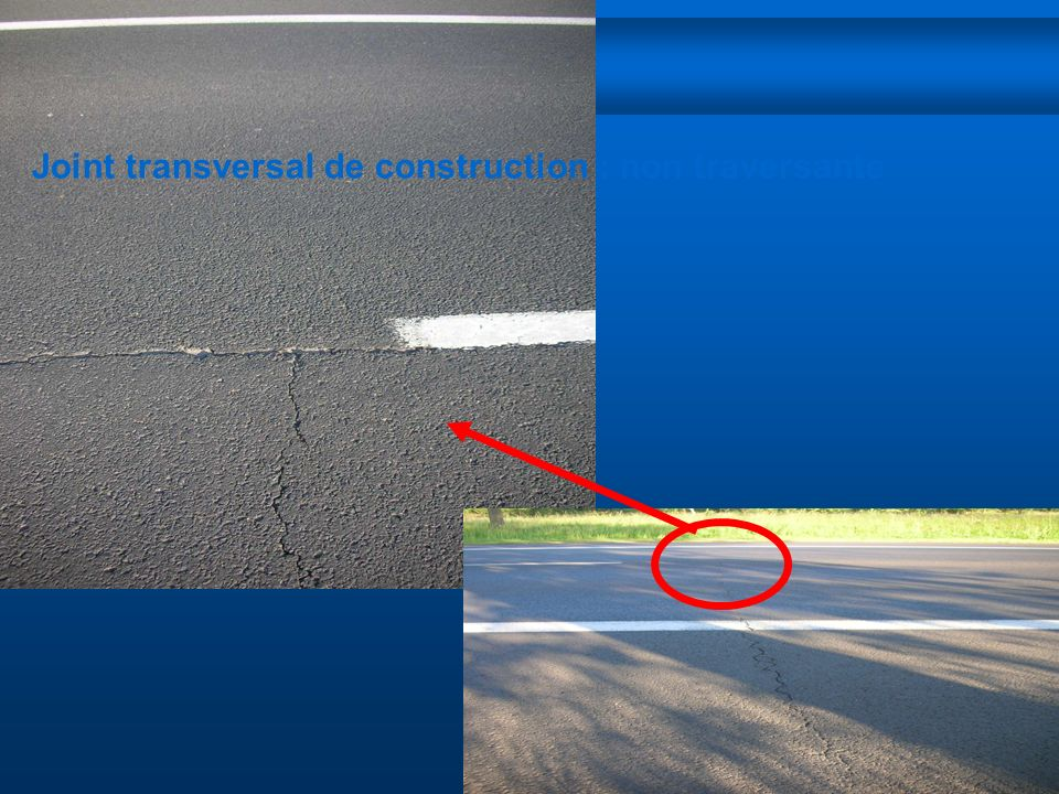 Joint transversal de construction : non traversante