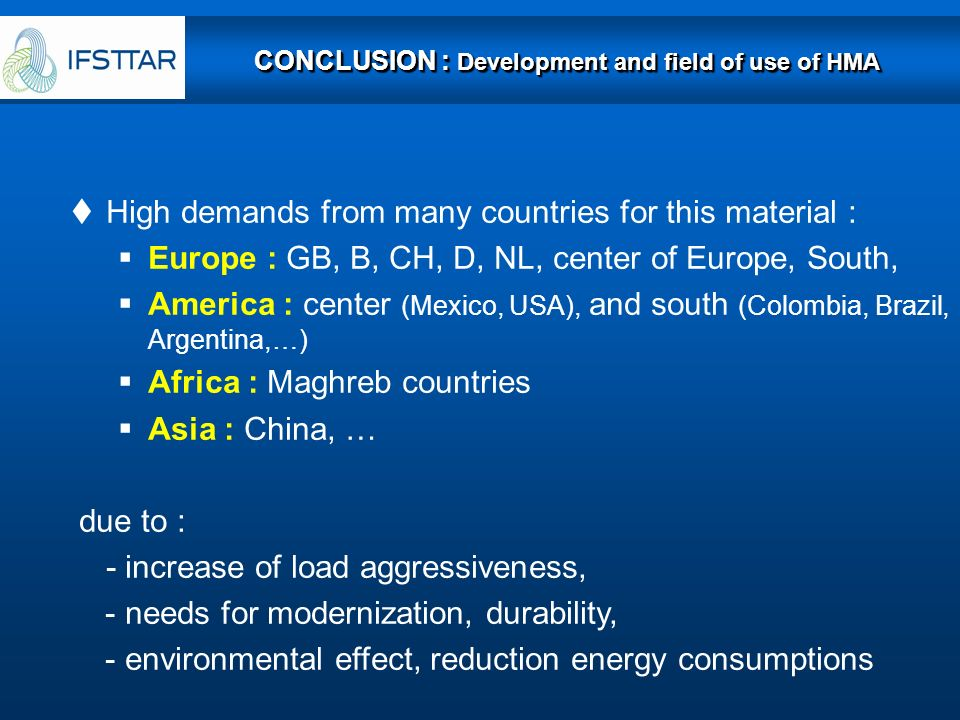 CONCLUSION : Development and field of use of HMA