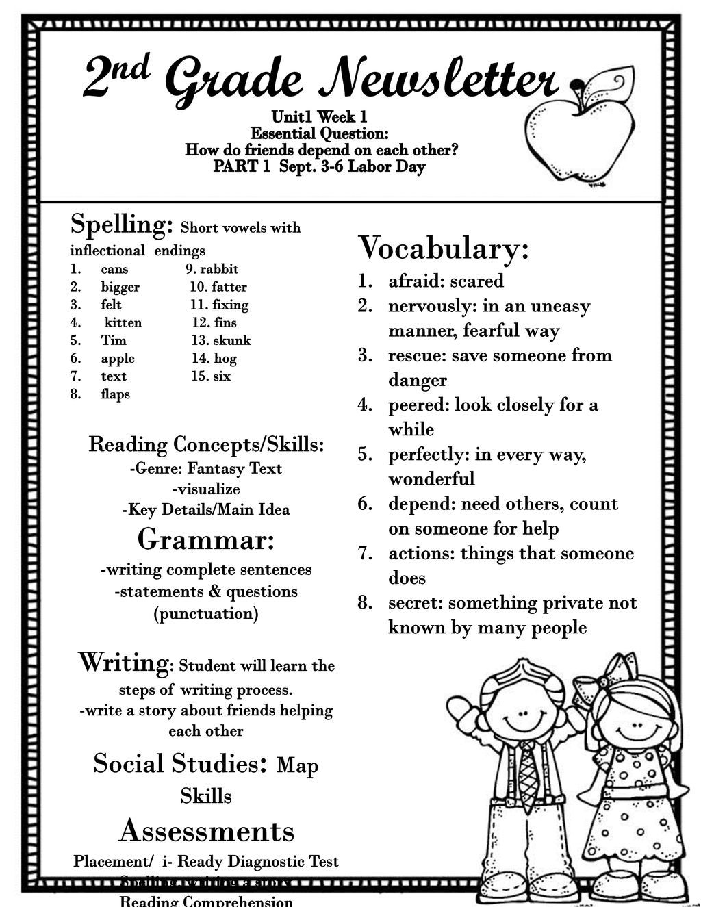 2nd Grade Newsletter Vocabulary Assessments Grammar Ppt