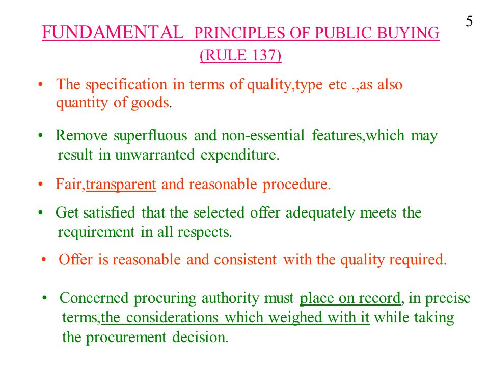 FUNDAMENTAL PRINCIPLES OF PUBLIC BUYING (RULE 137)