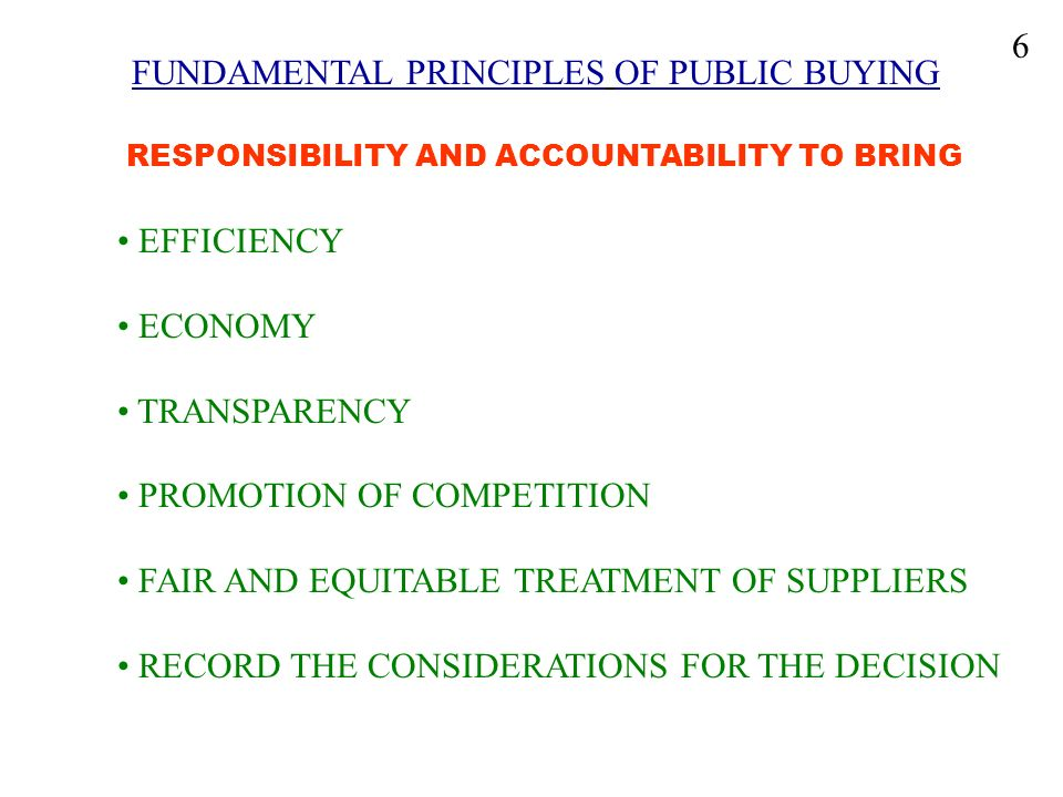 FUNDAMENTAL PRINCIPLES OF PUBLIC BUYING