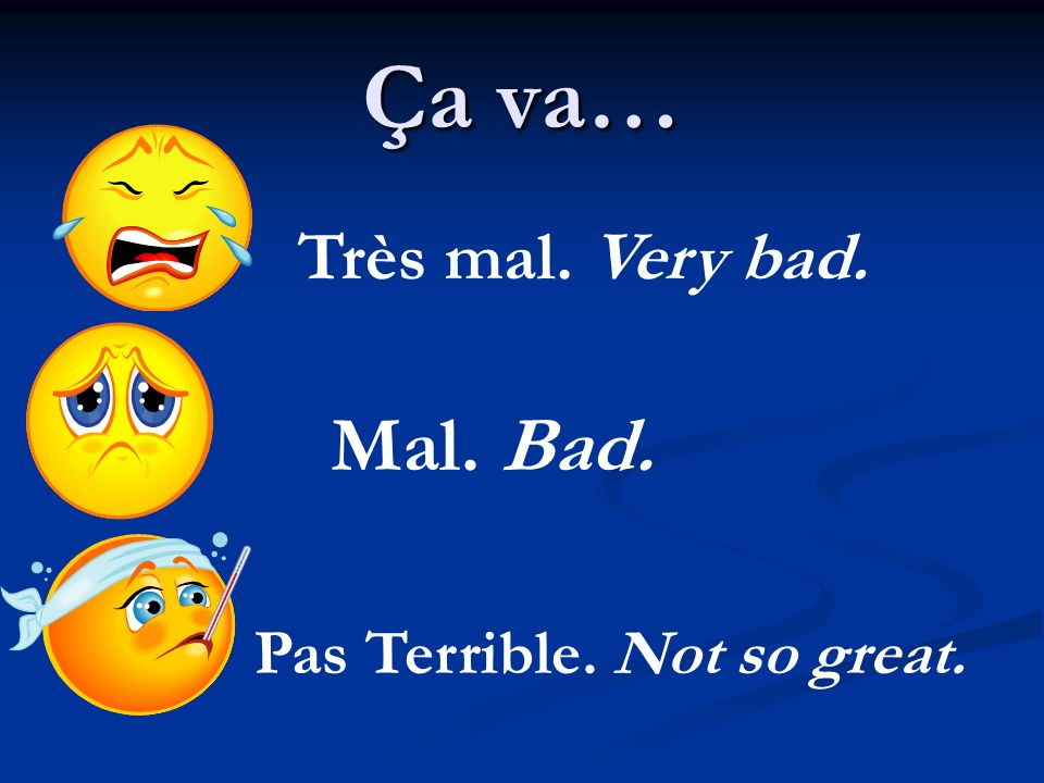 Ça va… Très mal. Very bad. Mal. Bad. Pas Terrible. Not so great.