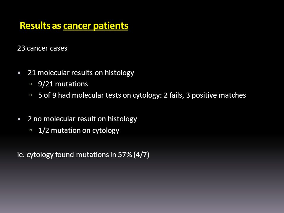 Results as cancer patients