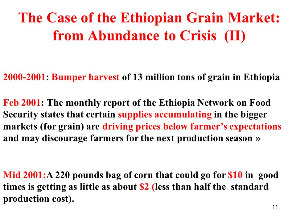 The Case of the Ethiopian Grain Market: from Abundance to Crisis (II)