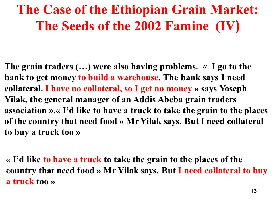 The Case of the Ethiopian Grain Market: The Seeds of the 2002 Famine (IV)