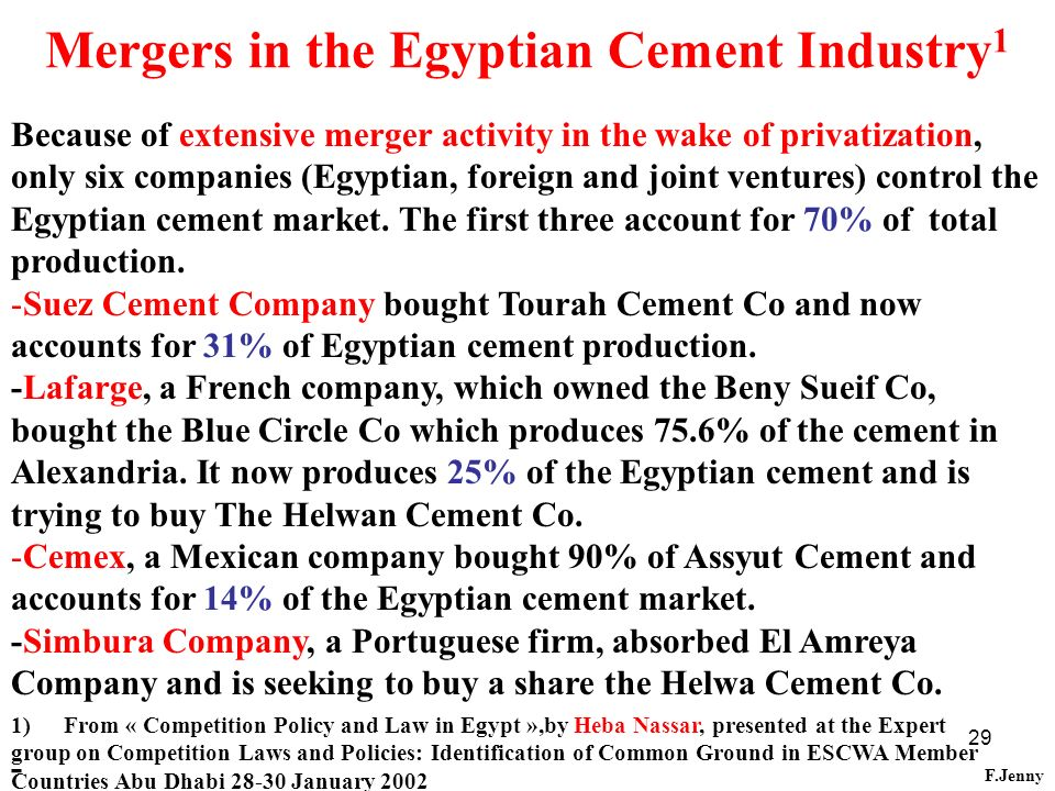 Mergers in the Egyptian Cement Industry1