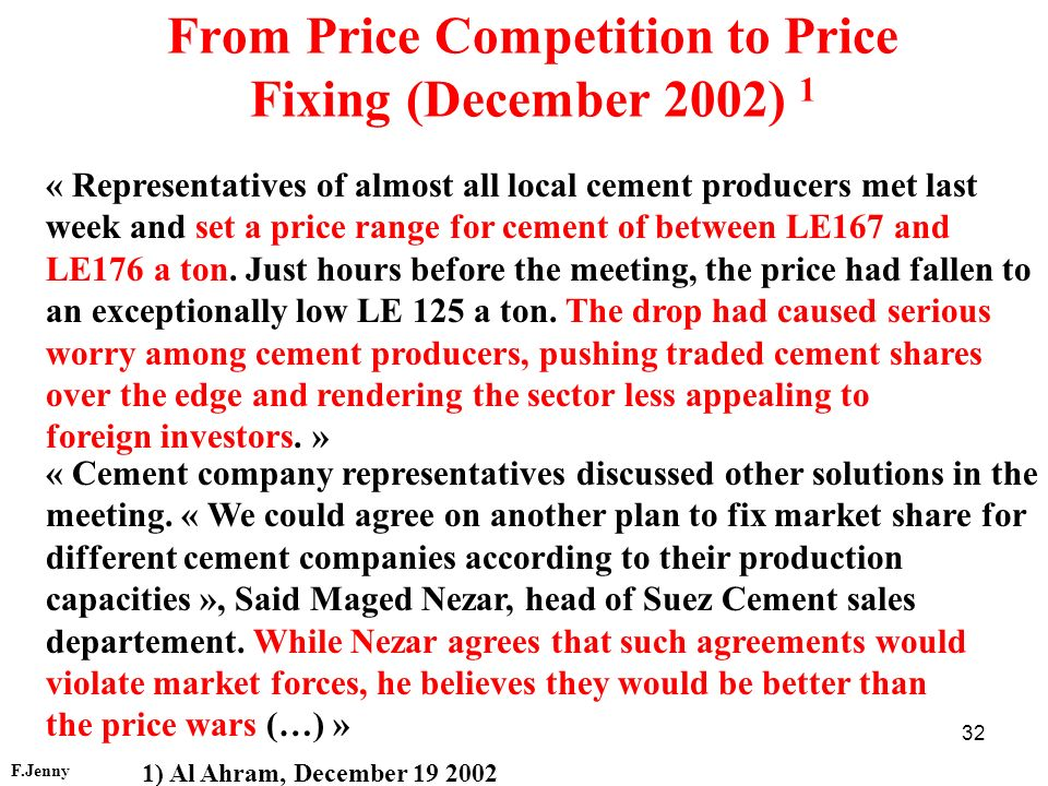 From Price Competition to Price Fixing (December 2002) 1