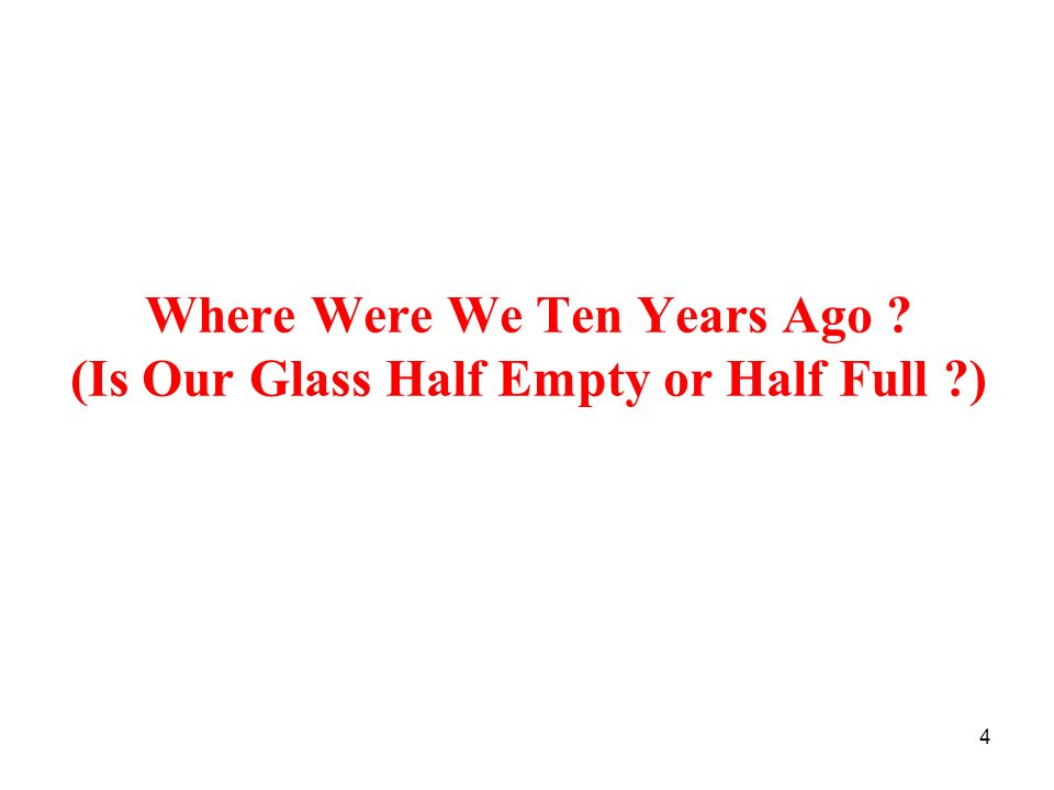 Where Were We Ten Years Ago (Is Our Glass Half Empty or Half Full )