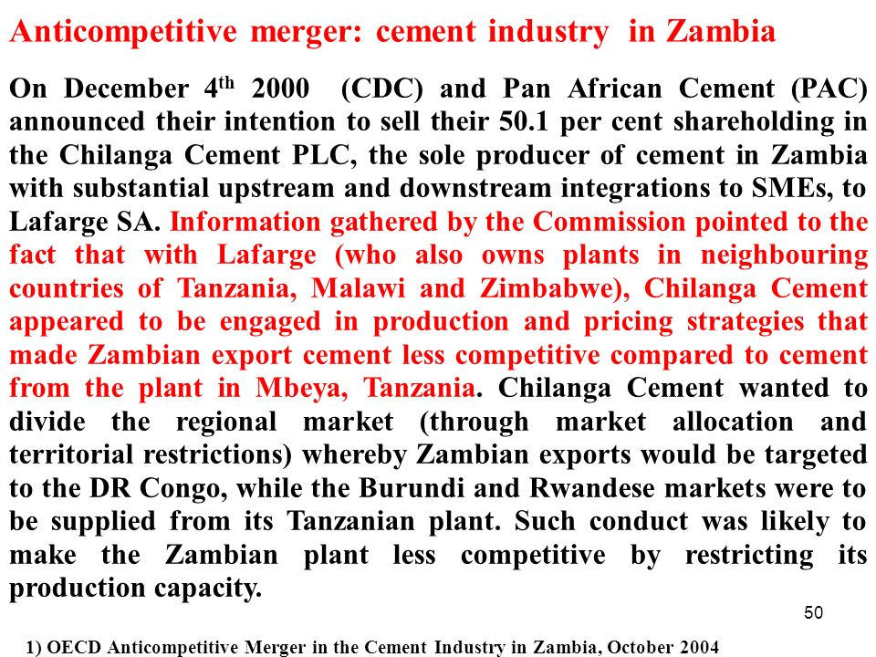 Anticompetitive merger: cement industry in Zambia