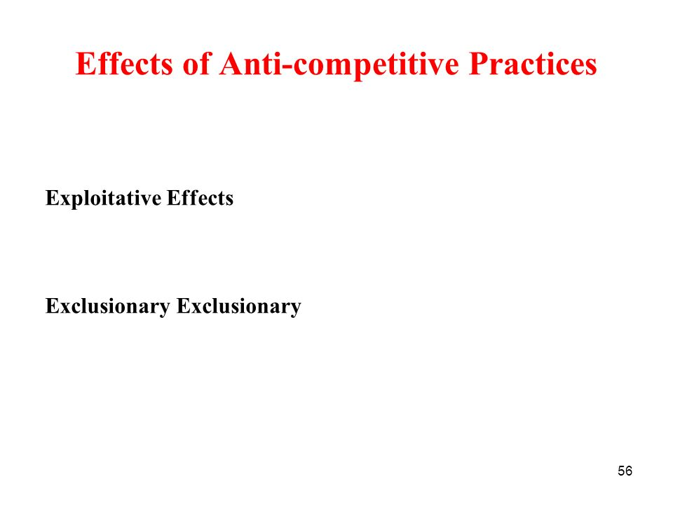 Effects of Anti-competitive Practices