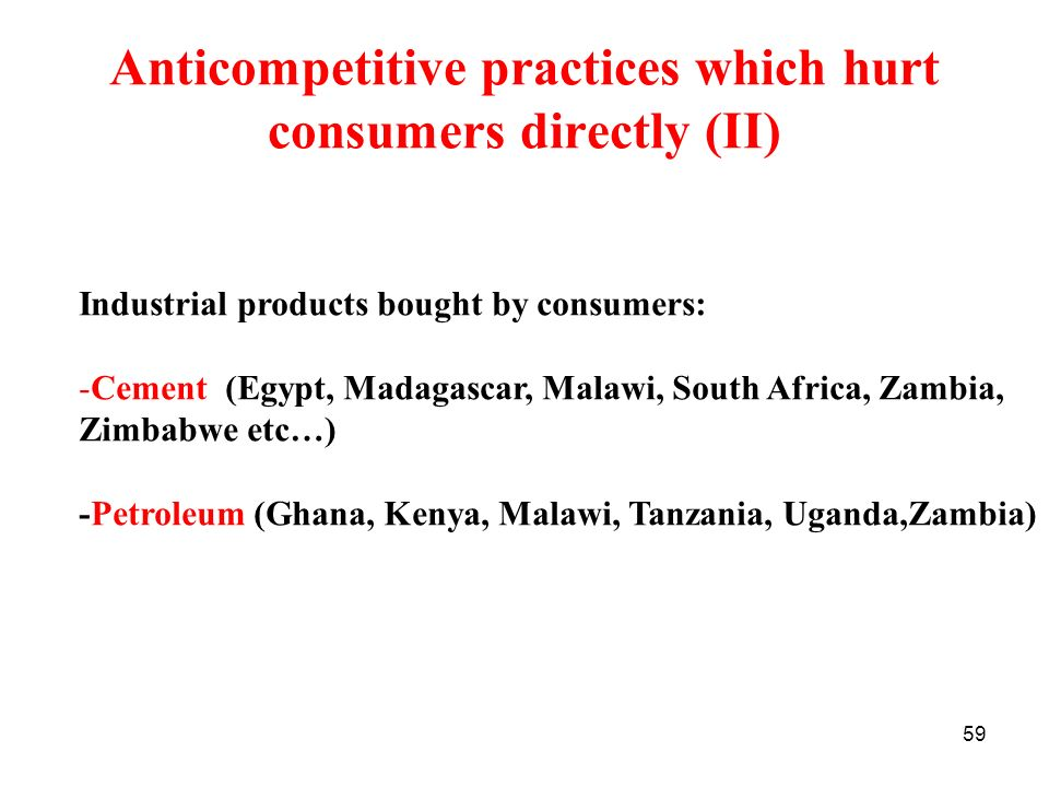 Anticompetitive practices which hurt consumers directly (II)