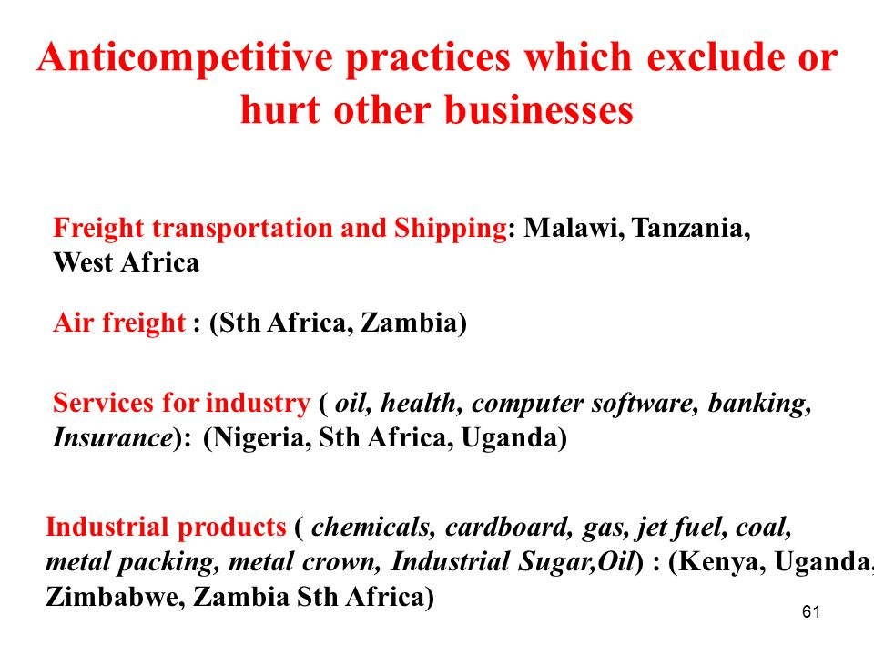 Anticompetitive practices which exclude or hurt other businesses