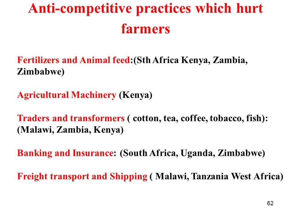 Anti-competitive practices which hurt farmers