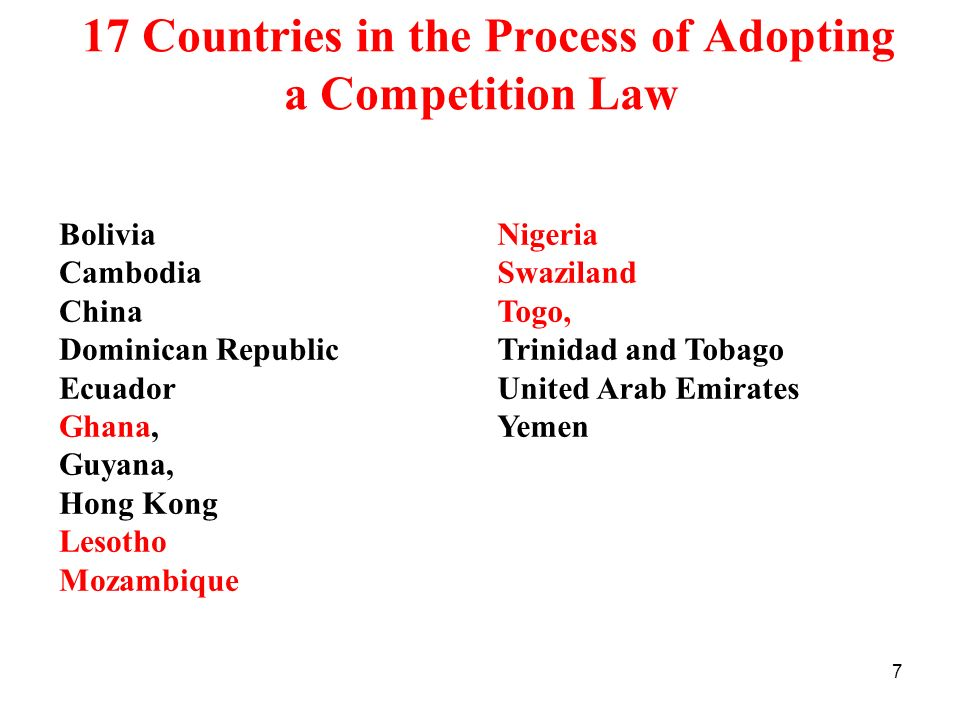 17 Countries in the Process of Adopting a Competition Law
