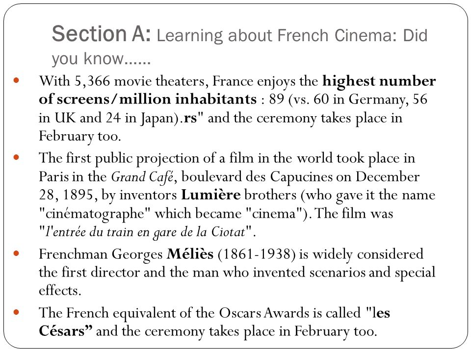 Section A: Learning about French Cinema: Did you know……