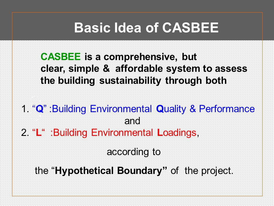 Basic Idea of CASBEE CASBEE is a comprehensive, but