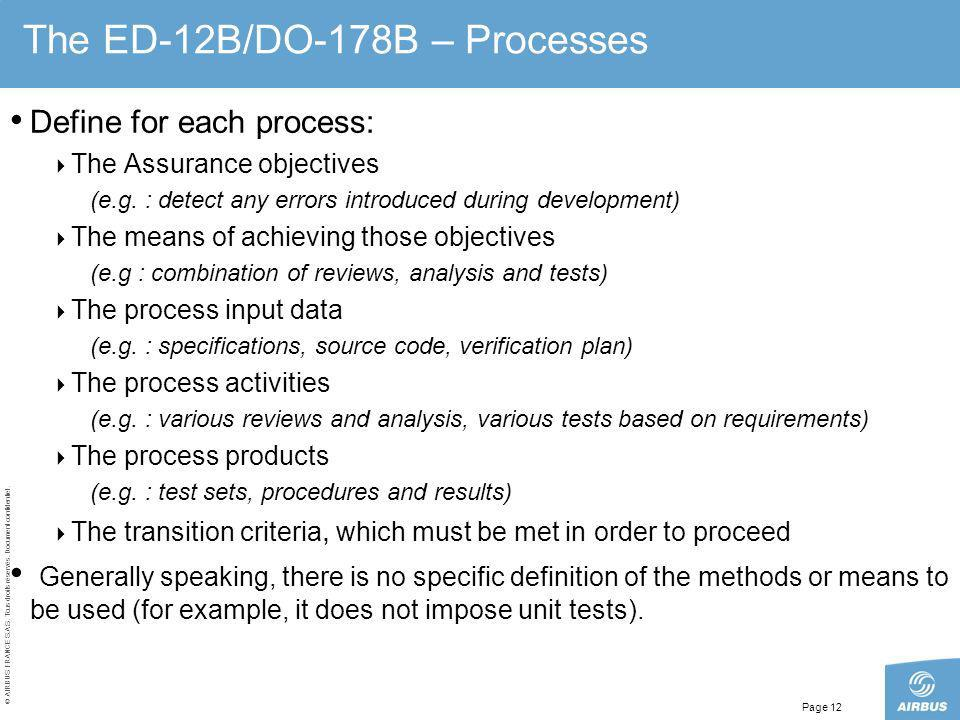The ED-12B/DO-178B – Processes