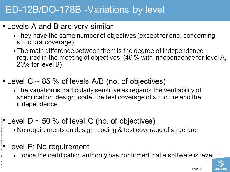 ED-12B/DO-178B -Variations by level