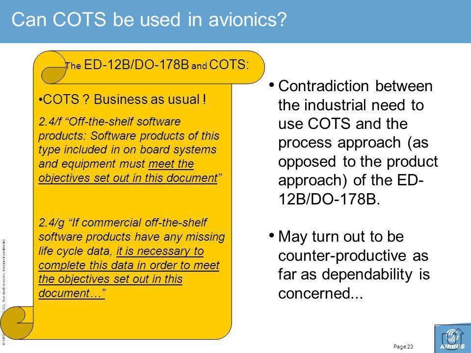 Can COTS be used in avionics