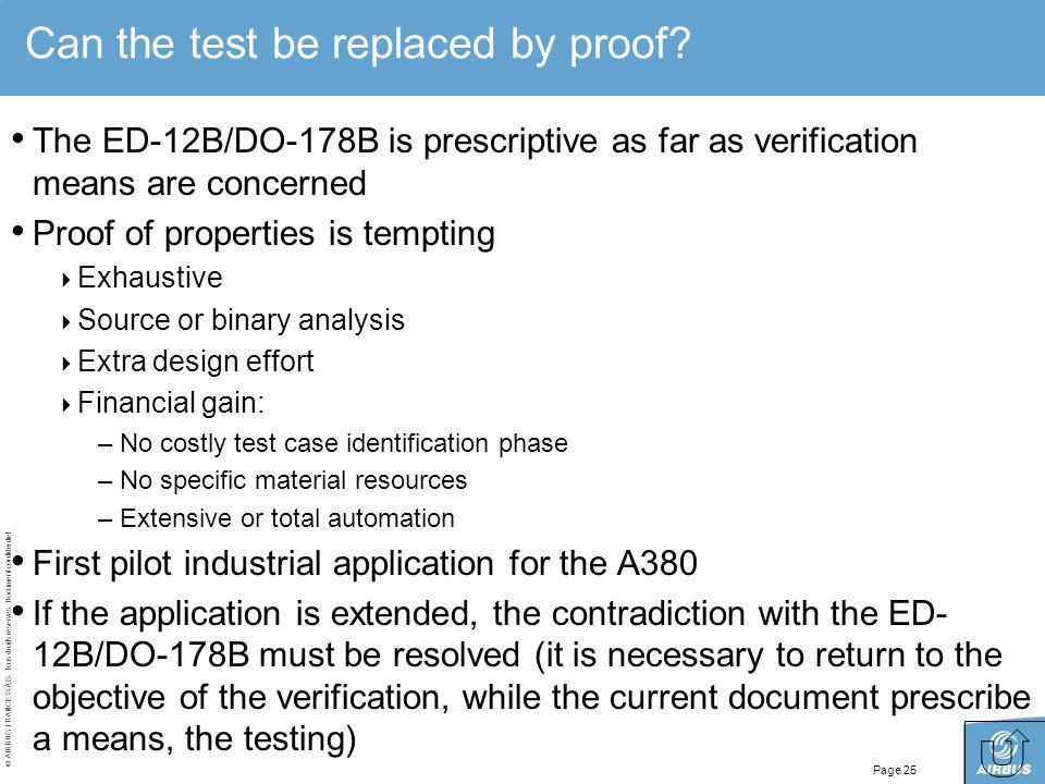 Can the test be replaced by proof