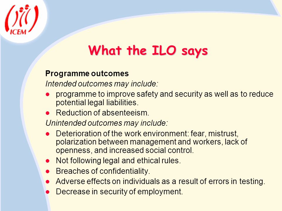 What the ILO says Programme outcomes Intended outcomes may include: