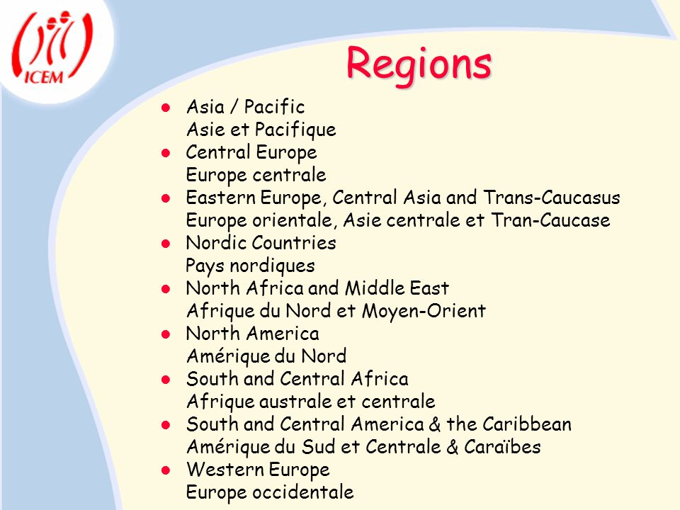 Regions Asia / Pacific Asie et Pacifique Central Europe