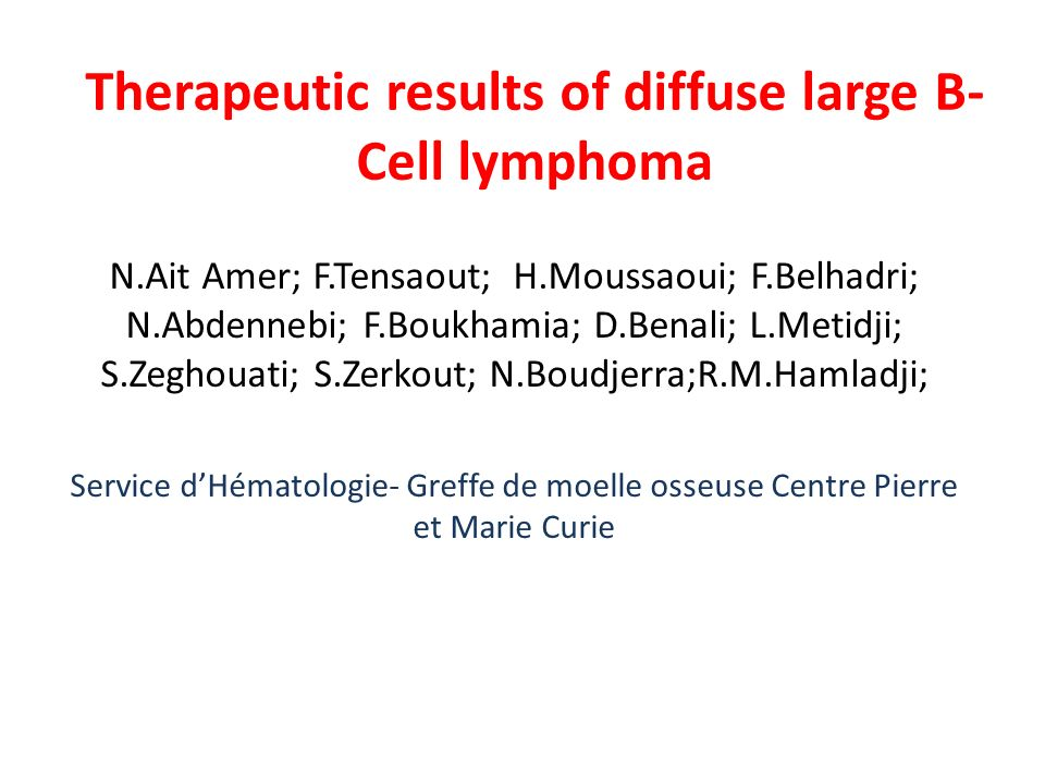 Therapeutic results of diffuse large B-Cell lymphoma