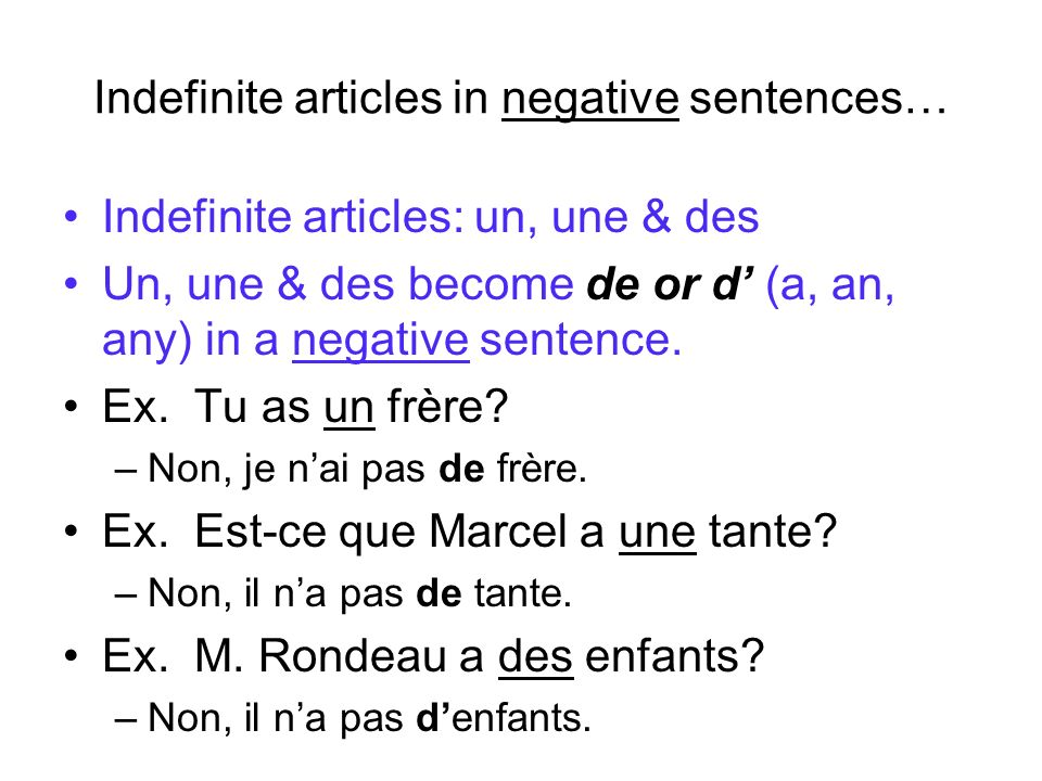 Indefinite articles in negative sentences…