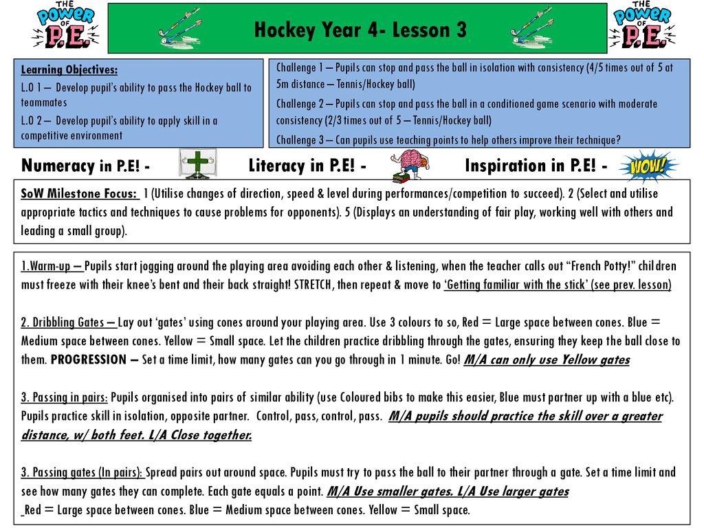 Hockey Year 4 Lesson 1 Numeracy In P E Literacy In P E
