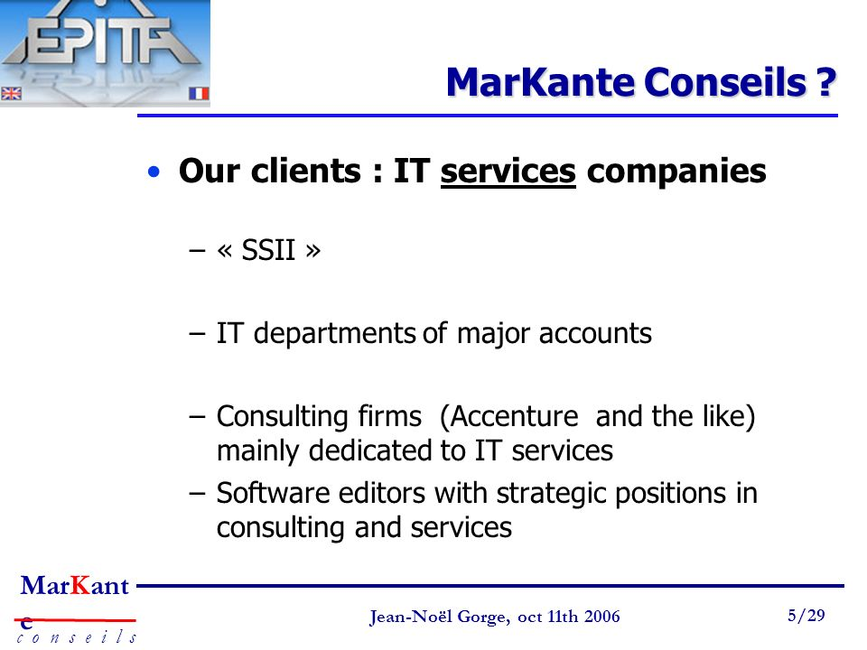 MarKante Conseils Our clients : IT services companies « SSII »