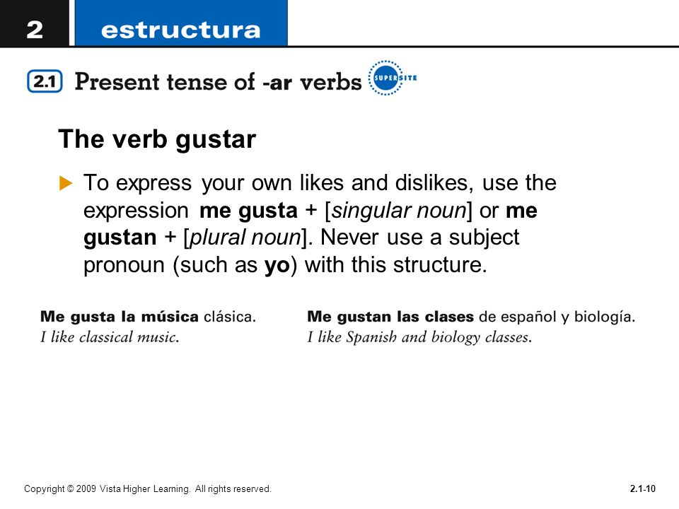 The verb gustar