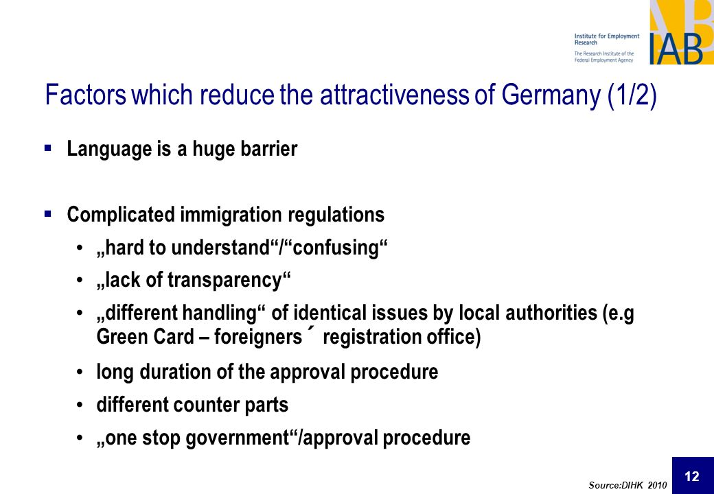 Factors which reduce the attractiveness of Germany (1/2)