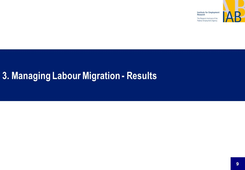 3. Managing Labour Migration - Results