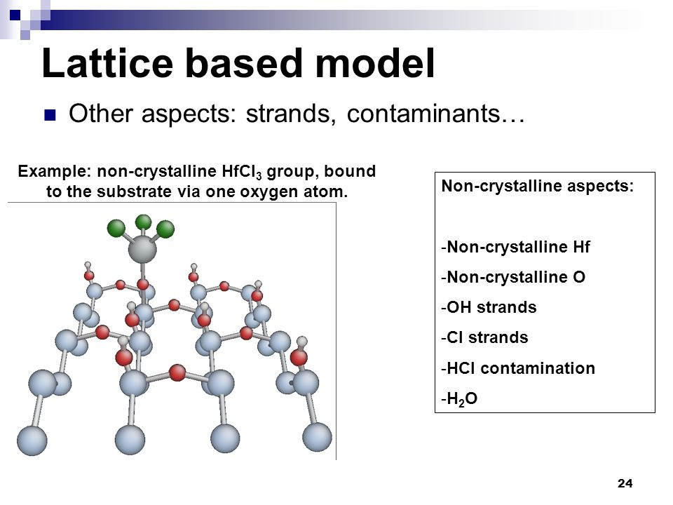 Lattice based model Other aspects: strands, contaminants…