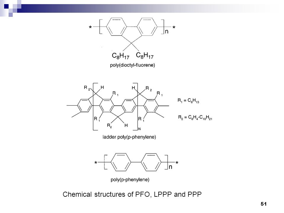 Chemical structures of PFO, LPPP and PPP