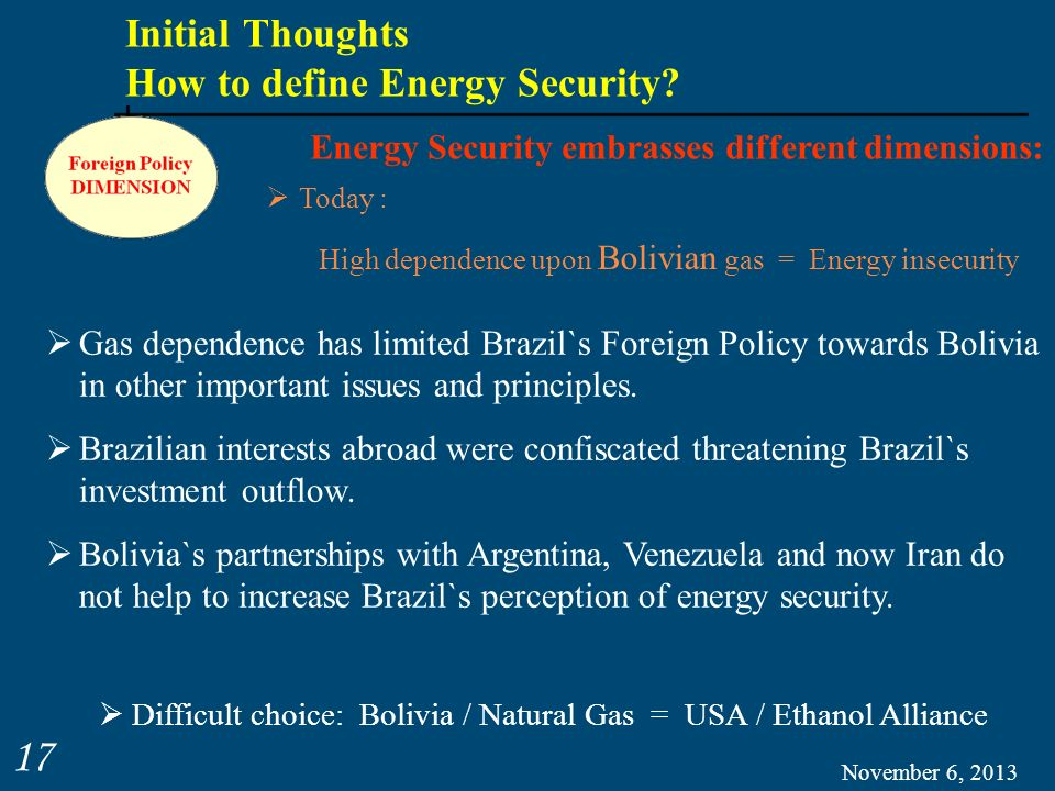 Initial Thoughts How to define Energy Security