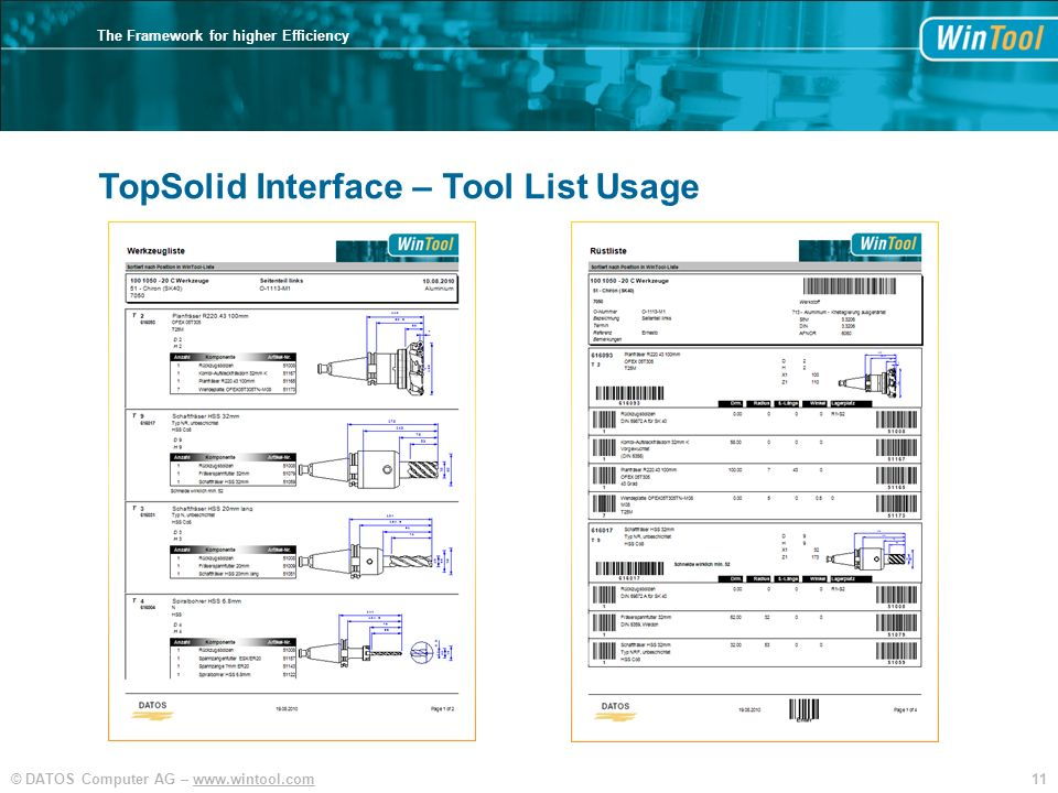 TopSolid Interface – Tool List Usage