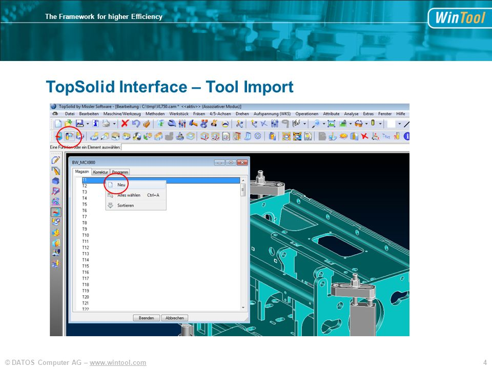 TopSolid Interface – Tool Import