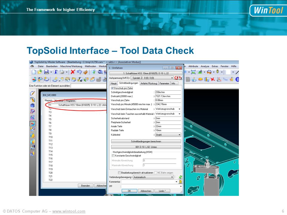 TopSolid Interface – Tool Data Check