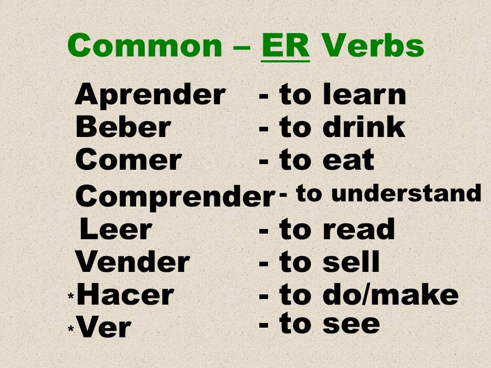 Common – ER Verbs Aprender - to learn Beber - to drink Comer - to eat